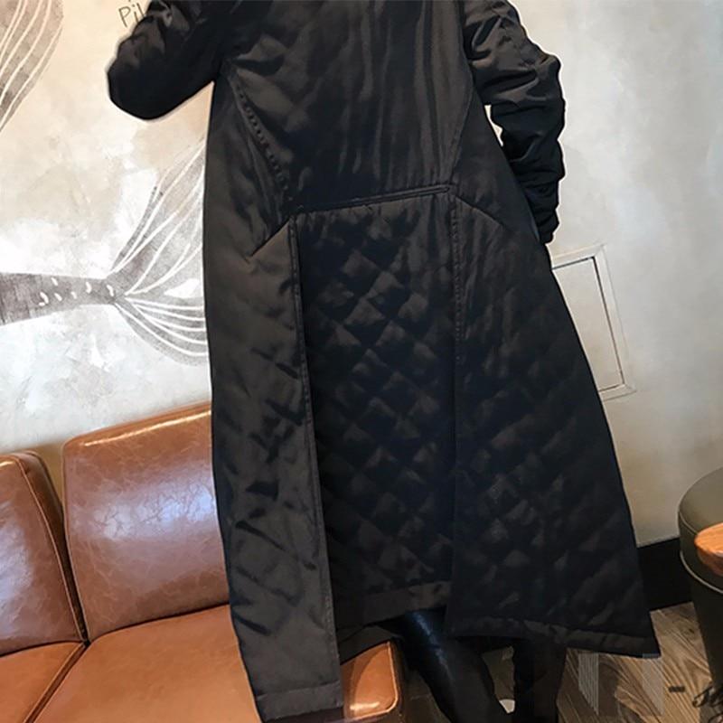 Chicever De Coupe Femmes Grande Col Manteau Nouveau Long vent Mode Black Noir Marée Lâche Hiver Tranchée Taille Montant 2018 4r6n4qwfd