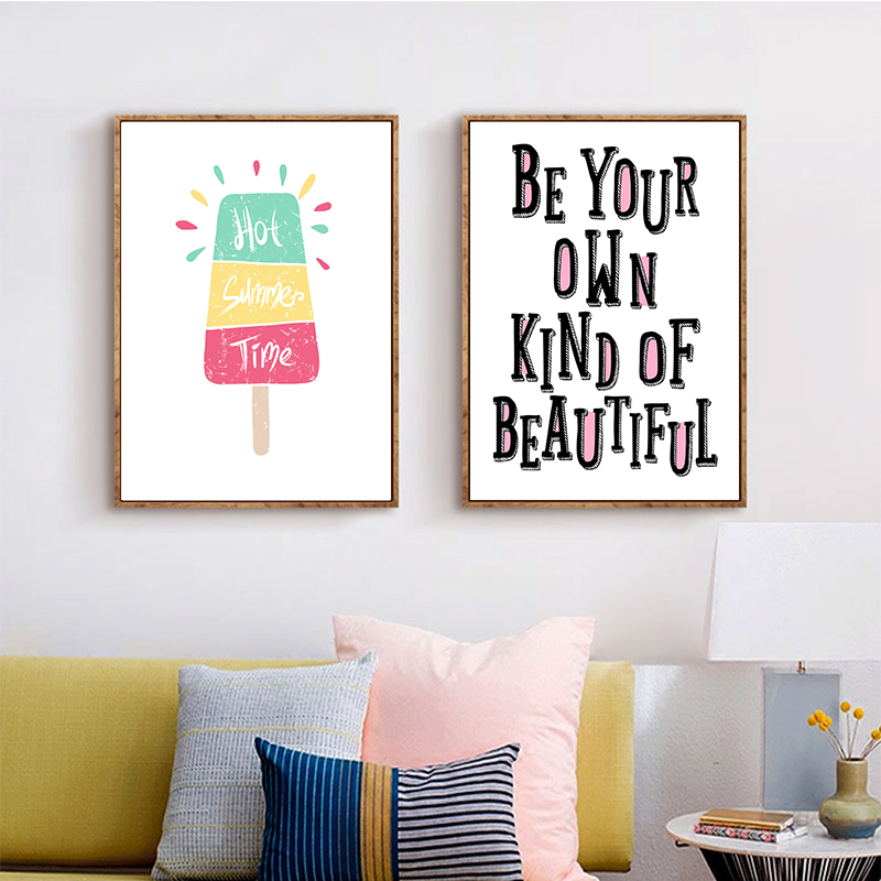 Nordic Cute Cartoon Fruit Pineapple Ice Cream English Sentence A2 A3 A4 Canvas Art Abstract Poster Picture Bedroom Decoration in Painting Calligraphy from Home Garden