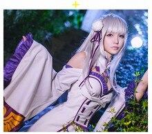 Hallowe Cosplay Nueva Re: Cero Isekai kara Hajimeru Seikatsu Emilia Disfraz + Orejas de Elfo de Halloween Para Adultos para Las Mujeres