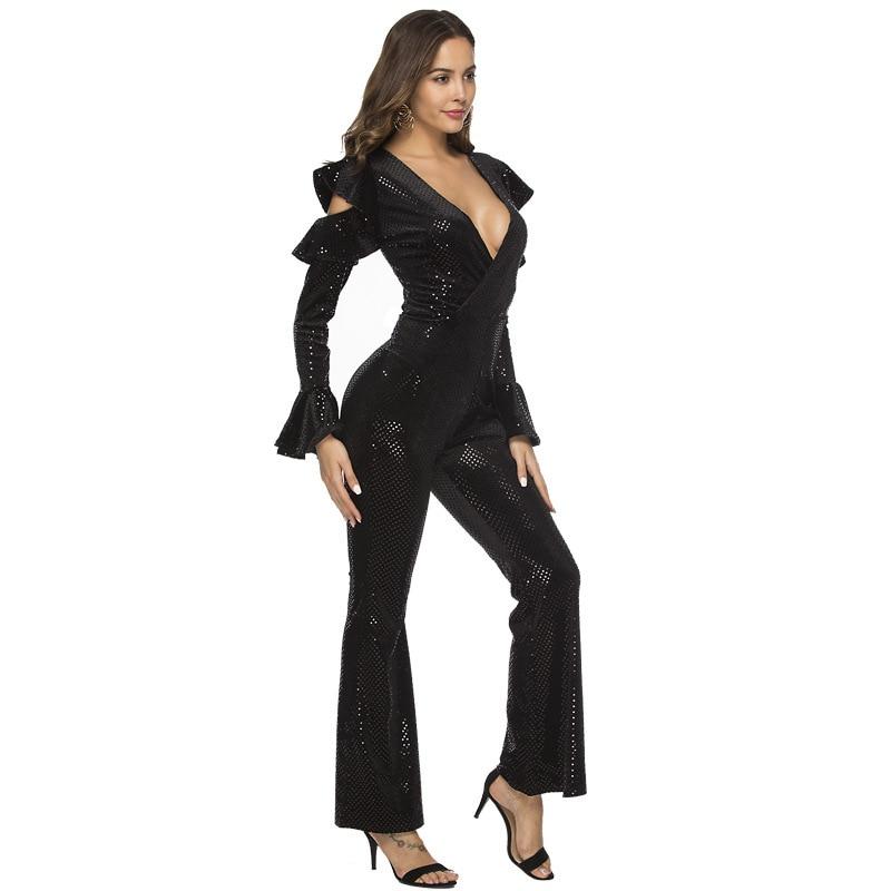 Combinaison justaucorps combinaison d'été Noir Sexy Brillant Combinaisons Pour 2019 pantalons Femme Top Barboteuses salopette pour femme Élégante Épaulement Ouvert