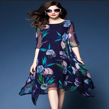 Royal blue o-neck womens dresses 2018 summer new mid-calf print half sleeve  asymmetrica dress elegant M -XXXL 218 77af208a6