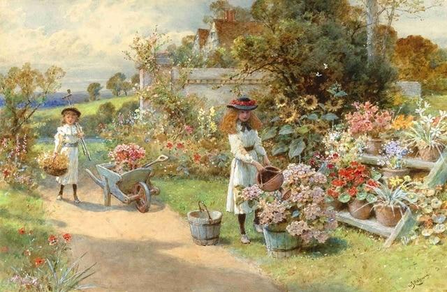 C beautiful platteland kind groeiende bloemen hd doek