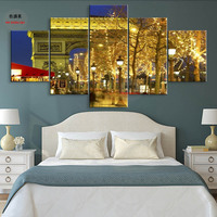 Decor Oil Painting Art Living Room Pictures Canvas Decoration Night View Room Poster Light Beautiful Street