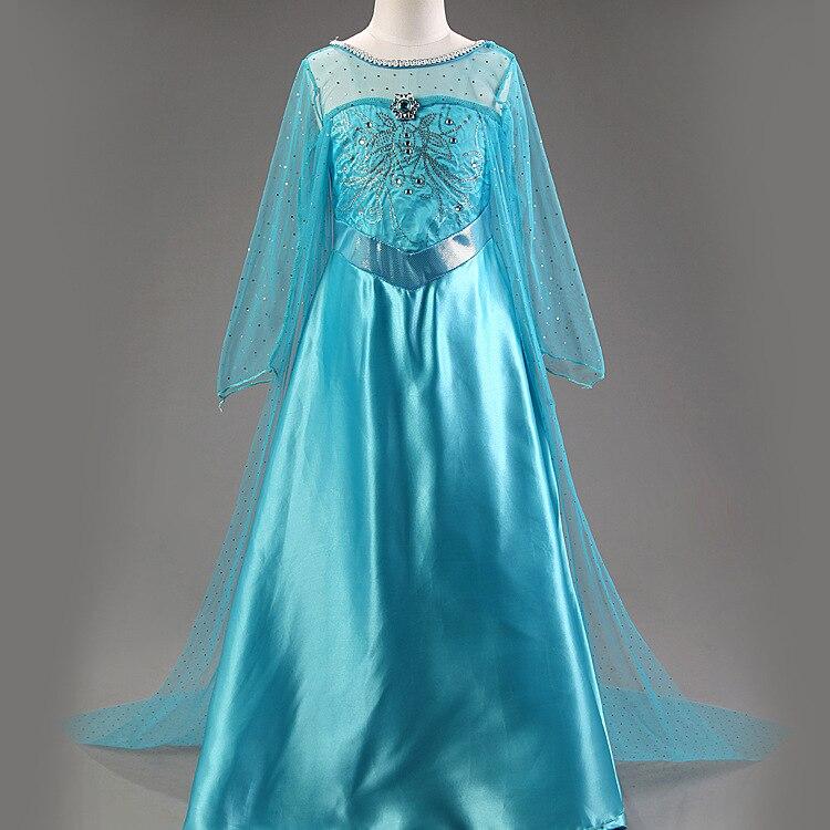 Vestido novo Elsa Anna neve traje branco vestido de festa longo menina manga roupas das meninas vestidos infantis princesa Congelados disfraz