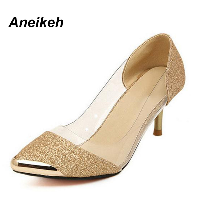 Aneikeh Women Pumps Shoes High Quality Fashion PU Leather Thin High Heel Pumps Gold Sliver Shoes Woman Size Plus 35-40 158-1