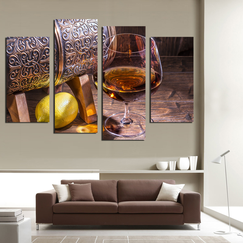 Aliexpress.com: Compre 4Panel Canvas Fruit Lemon Wine Glass Picture For  Kitchen Living Room Wall Decor Canvas Prints Wall Paintings No Frame F18875  De ... Part 88