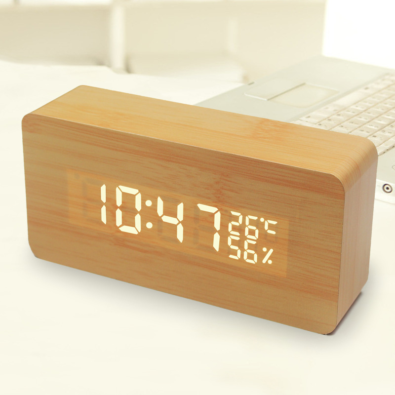 Led Bed Small Alarm Clock Lazy Creative Gift Wooden  Voice-Activated LED Electronic C Mini