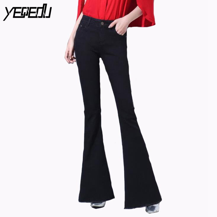 #3050 Full Length High Waist Stretch Flare   Jeans   Women Black/blue Fashion Loose Denim Bell Bottom   Jeans   Woman Spring Autumn 2019