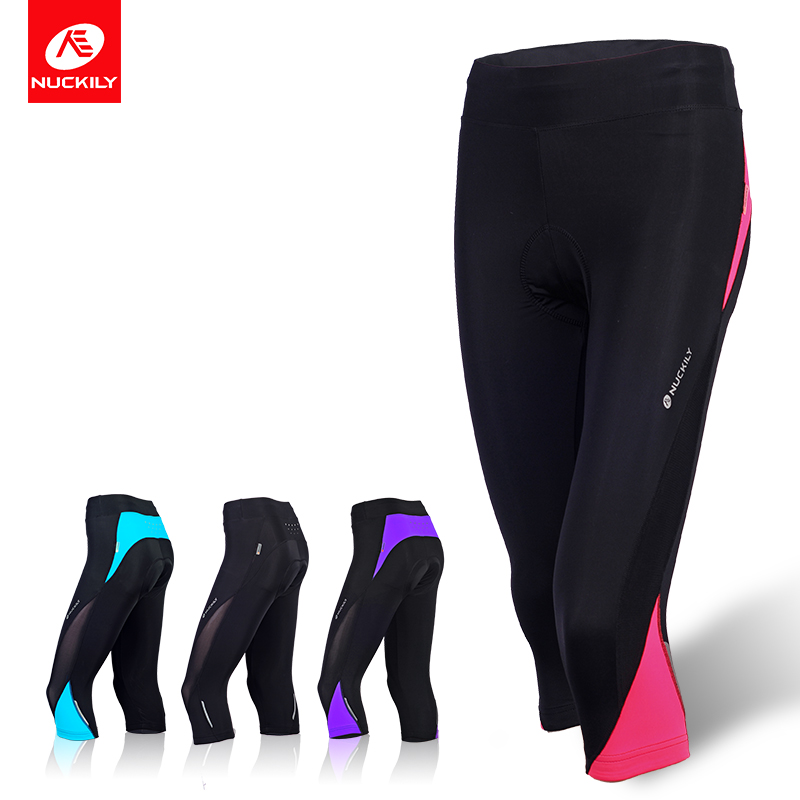 NUCKILY Women's 3/4 Cycling Pants Breathable Lycra Summer Road Bike Shorts Reflective Bicycle Tights GL001 nuckily men s winter bicycle pants waterproof and windproof outdoor breathable polyester durable fabric cycling sports tights
