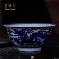 Changwuju Bowls handmade tableware Jinhdezhen blue and white porcelain bowl with pine,bamboo and prunus Beautifully ceramic bowl
