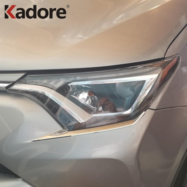 For Toyota RAV4 <font><b>RAV</b></font> <font><b>4</b></font> 2016 2017 <font><b>2018</b></font> ABS Chrome Front Headlight Strips Frame Headlamp Decoration Cover Trim Car Styling image