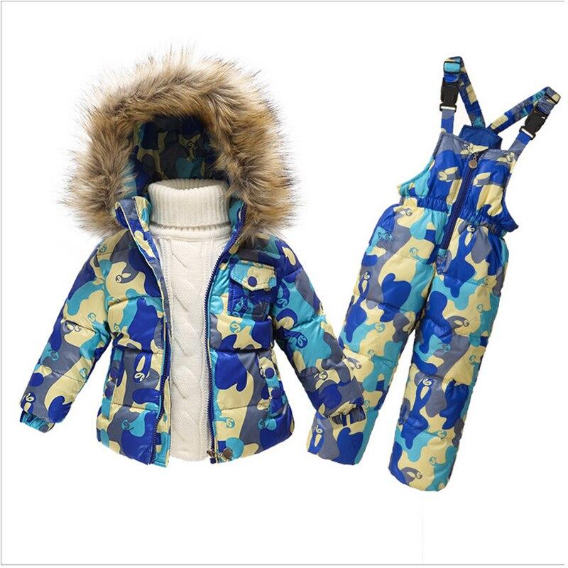 1-5Y Baby Snowsuit New Toddler Boy Girl Snow Wear Faux Fur Collar Kids Winter Thicken Outwear Down Jacket Jumpsuits