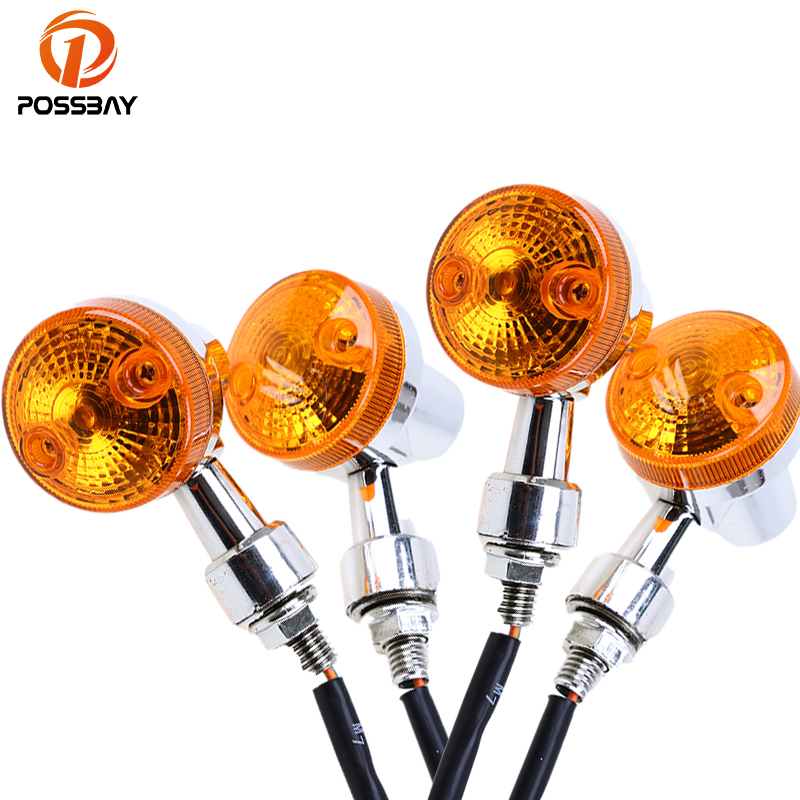 POSSBAY 4Pcs 12V Universal Motorcycle Turn Signal Light for GN125 Cafe Racer Harley Suzuki Yamaha Cafe Racer Light Amber Flasher