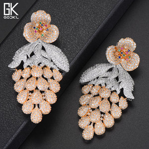 Image 3 - GODKI 75mm Pink Trendy Luxury Grape Nigerian Tassels Long Dangle Earring For Women Wedding Zircon CZ Indian Dubai Bridal Earring