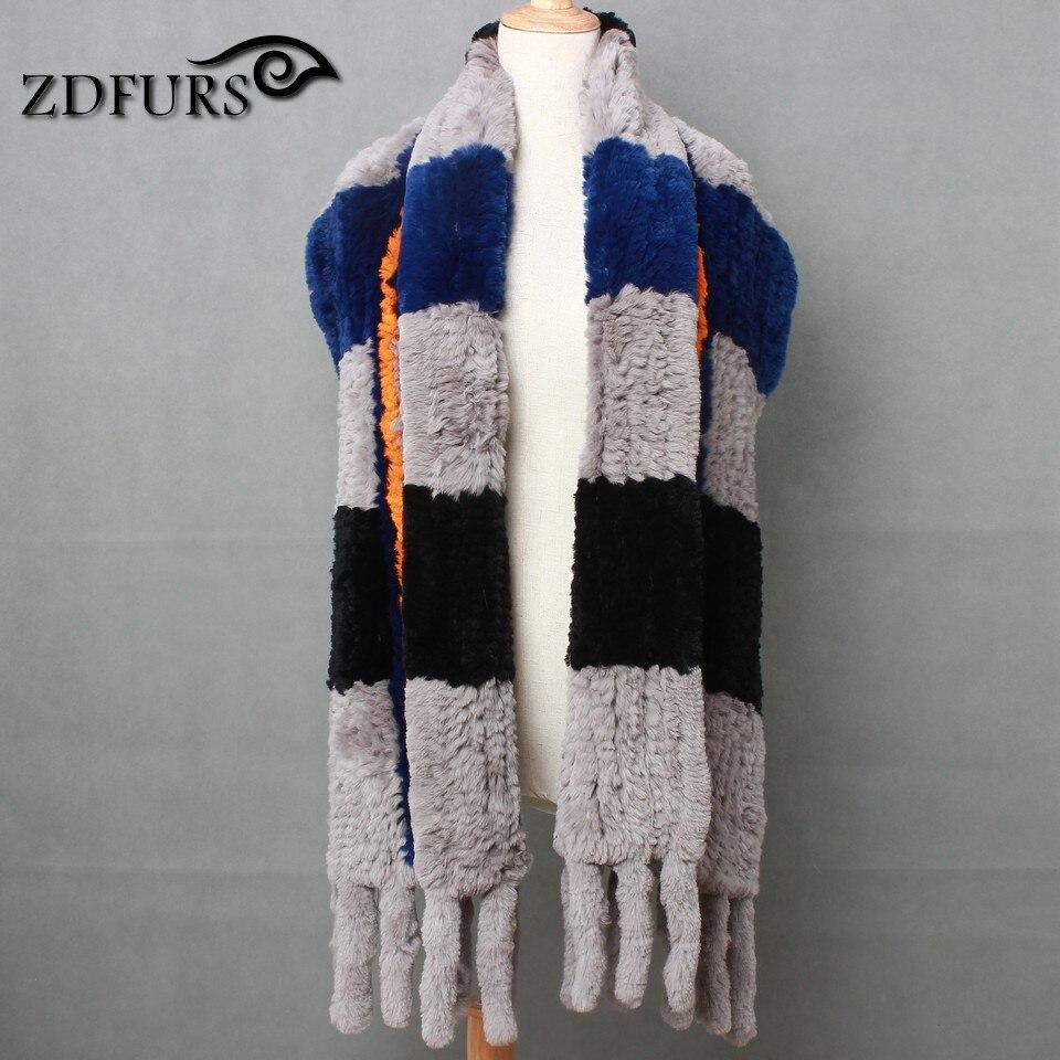 ZDFURS * Europe hit grande couleur automne et hiver couleur collier combo couleur chaud châle 100% importé Rex lapin écharpes femme spécial