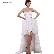 High Low Short Front Long Back Wedding Dresses Real Photo Organza Bridal Dress Princess Gowns Marriage Custom Made Size