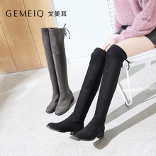 GEMEIQ 2018 Winter New Butterfly Knot Stretch Over-the-Knee long Boots women Round toe medium bold heel Fashionable Shoes