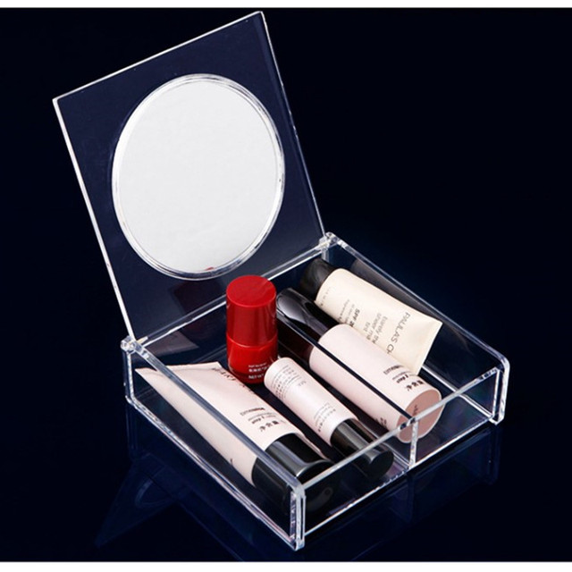 Clear Acrylic Makeup Organizer With Lid And Mirror Cosmetic Box Case