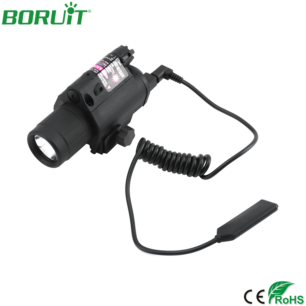 BORUiT Red Laser Sight Hunting Combo 2 in 1 LED Flashlight Tactical Flashlight Hunting Flash Light Torch Lamp Gun Mount sq 2 2 in 1 pistol style 1 led white 1 led red flashlight keychain bronze black 3 x lr41