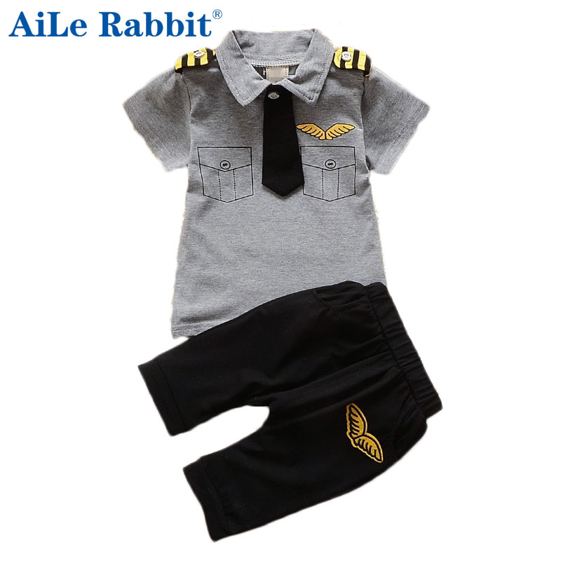AiLe Rabbit clothes suits children baby boys summer clothing sets cotton kids gentleman outfits child short sleeve tops t shirt aile rabbit summer 2016 new baby boy pattern rabbit toddler plaid kids clothes children clothing set