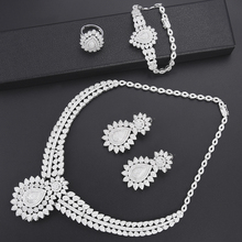 SisCathy 4PCS Necklace Earrings Bangle Rings For Women Jewelry Sets Cubic Zirconia Statement Dubai Bride Wedding Accessories цена в Москве и Питере