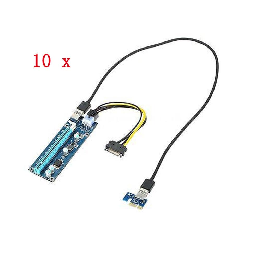 bilder für 10 stücke USB 3.0 PCI-E PCI Express Extender Riser-karte PCI-E 1X 16X Adapter mit Power Usb-kabel Für Bitcoin Mining