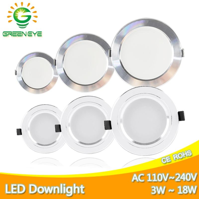 Downlight 3W 5W 9W 12W 15W 18W Led Downlight Silver White Ultra Thin Aluminum AC110V 220V 240V Round Recessed LED Spot Lighting