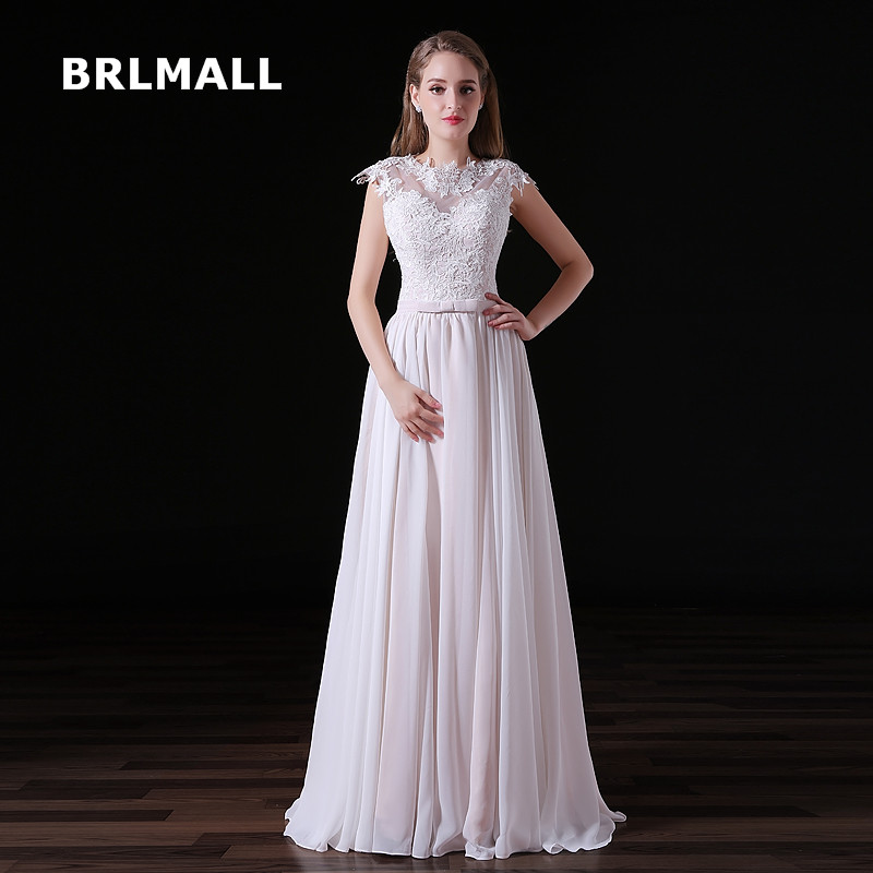 2019 New Simple Wedding Dresses Chiffon Exquisite Lace A