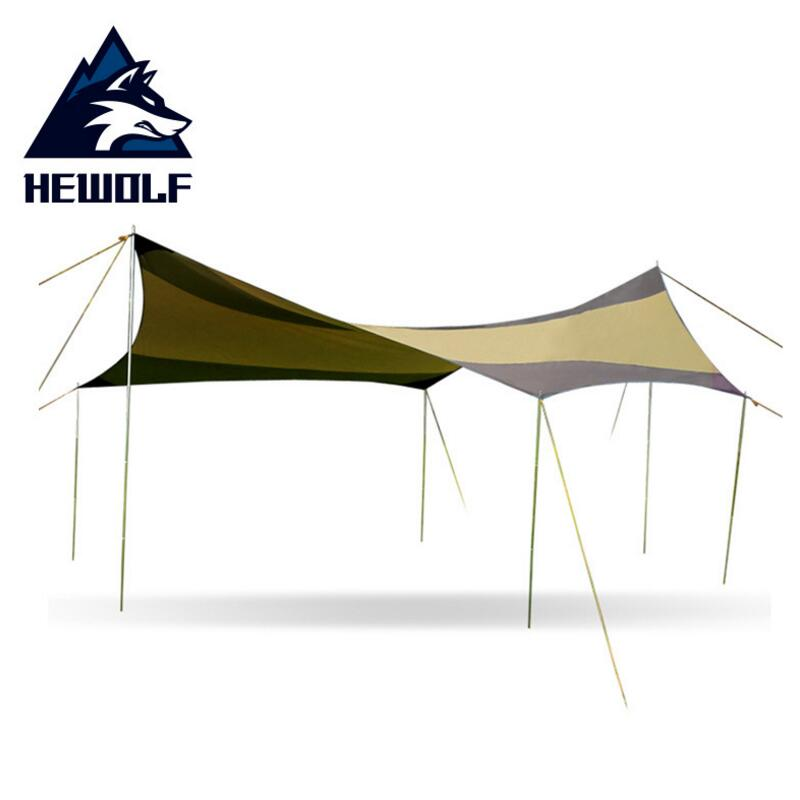 Hewolf 5*5M Silver Coating Anti UV Sun Shelter 10 Person Picnic Beach Tent Pergola Awning Canopy Oxford Tarp Camping Sunshelter цена