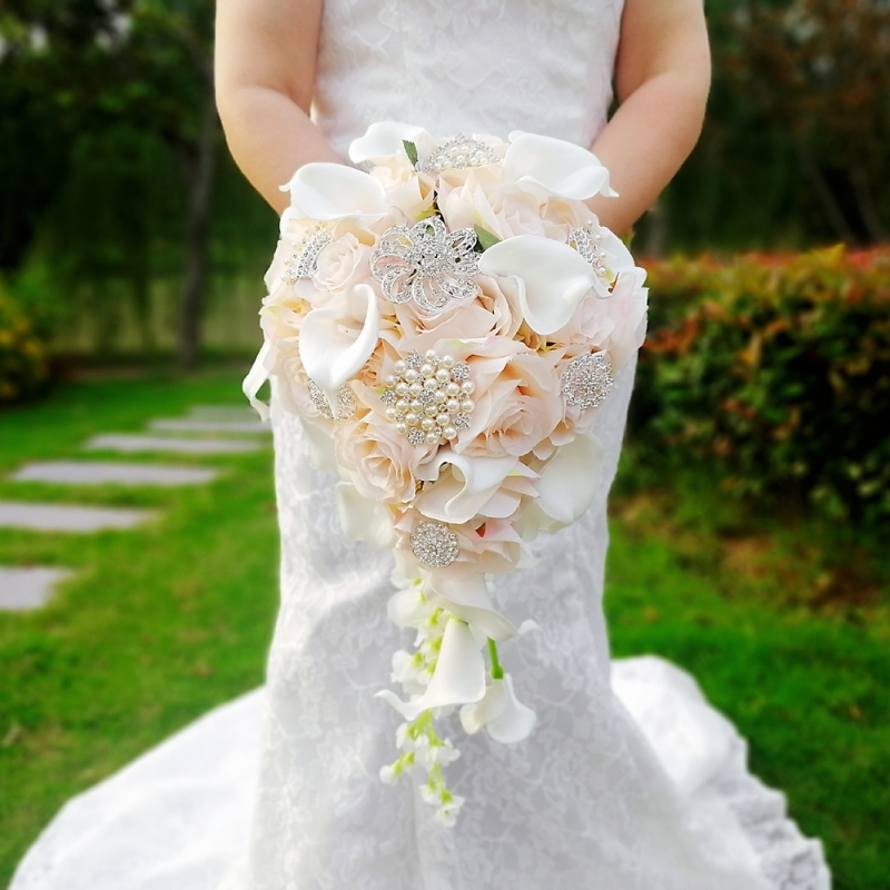 Waterfall Pink Wedding Flowers Bridal Bouquets Artificial Pearls Crystal Wedding Bouquets Bouquet De Mariage Rose