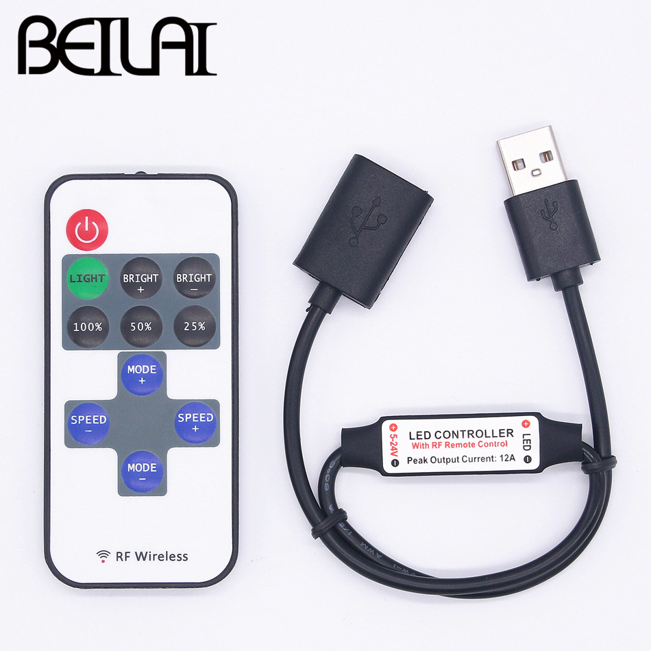 все цены на BEILAI Mini USB 5V RF Wireless LED Controller Dimmer Remote Control For USB LED String and Single Color LED Strip 5050 2835 5630 онлайн