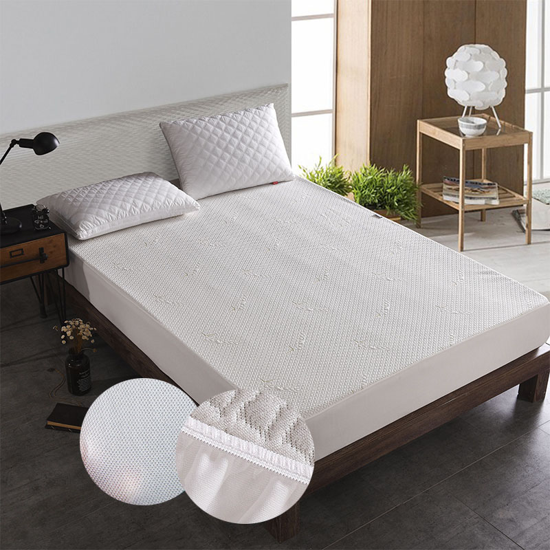 Bamboo Jacquard Anti-mite Mattress Pad Knitting Waterproof Mattress Protector Cover for Bed Wetting Anti Mite Bed Protection