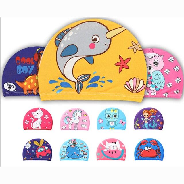 Эластичные тканевые милые шапочки для плавания с рисунком из мультфильма, с длинными волосами, милые детские шапочки для плавания с ушками, для мальчиков и девочек