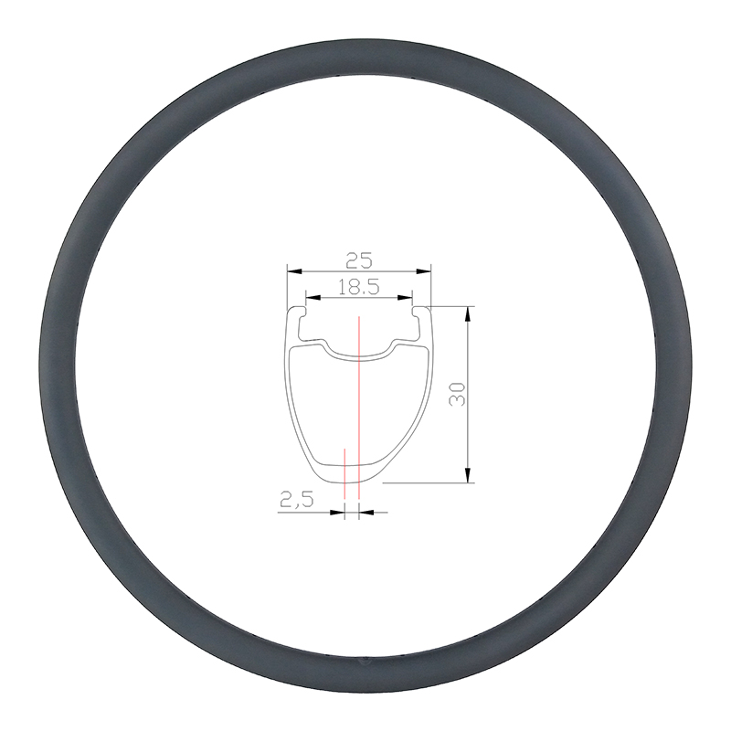 360g 30mm asymmetric road disc carbon rim tubeless clincher 25mm wide U shape 700c wheel UD