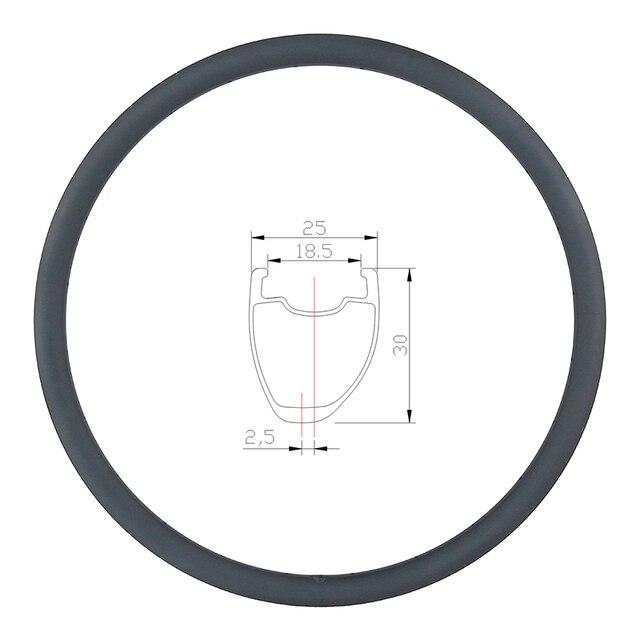 Disque de route asymétrique tubeless en carbone, 360g 30mm, roue tubeless, en forme de U large 700c, UD 3K, mat et brillant, 20H 24H 28H 32H 36H
