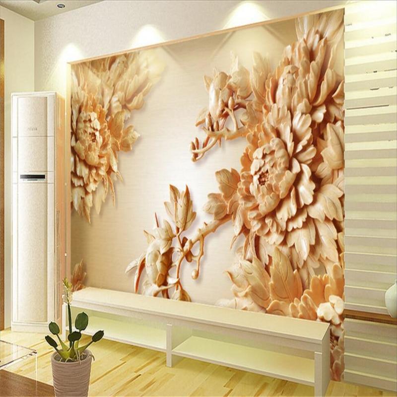 beibehang custom foto mural wall sticker 3d kayu peony bunga tv