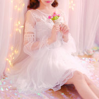 Japanese Sweet Princess Style Fairy Dress Autumn Slim Embroidered Lace Lantern Sleeve Long Sleeve Frilled Lace Ball Gown Dress