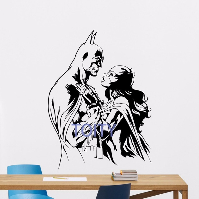 Batman catwoman wall decal superhero vinyl sticker art decor poster comics mural h78cm x w58cm