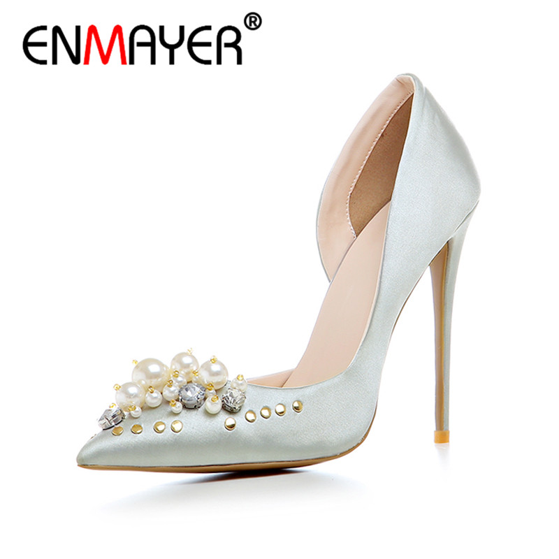 ENMAYER Spring Autumn Women Fashion Party Rhinestone Beading Pumps Shoes Pointed Toe Slip-On Thin Heels Large Size 34-43 Beige free ship long silver white cosplay straight wig with two clip on ponytails