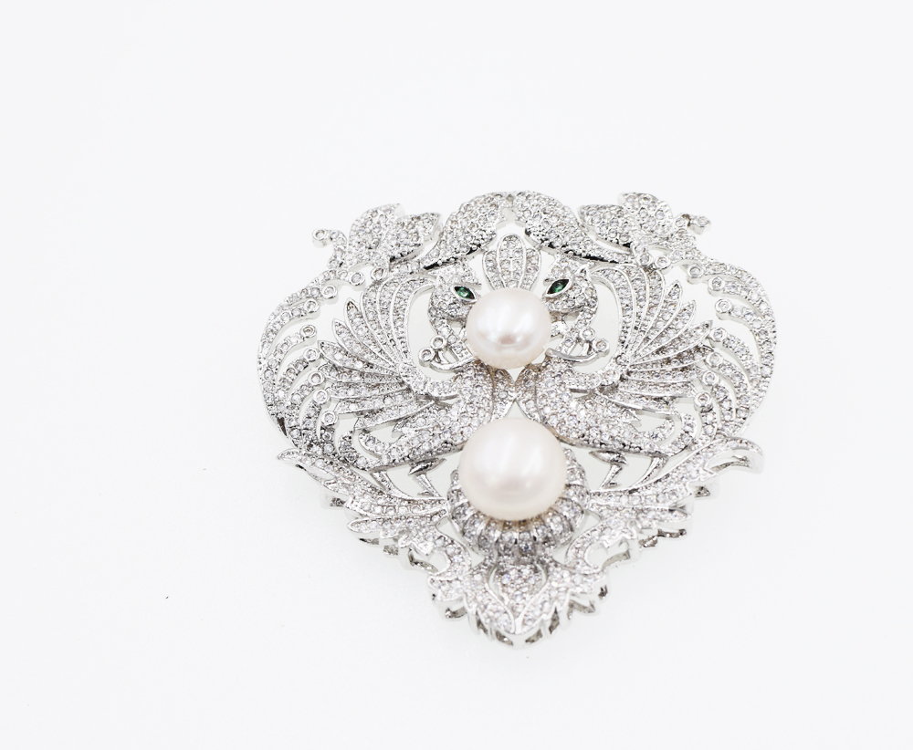 AMAZING!freshwater pearl white coin a birds brooch 60mm  wholesale beads