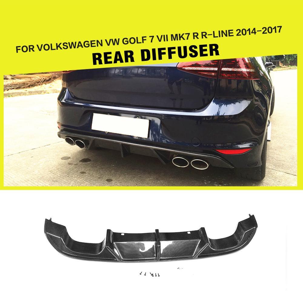 Car Styling Carbon Fiber Racing Rear Diffuser Lip Fits for Volkswagen VW GOLF 7 VII MK7 R R-LINE Hatchback 2014-2017