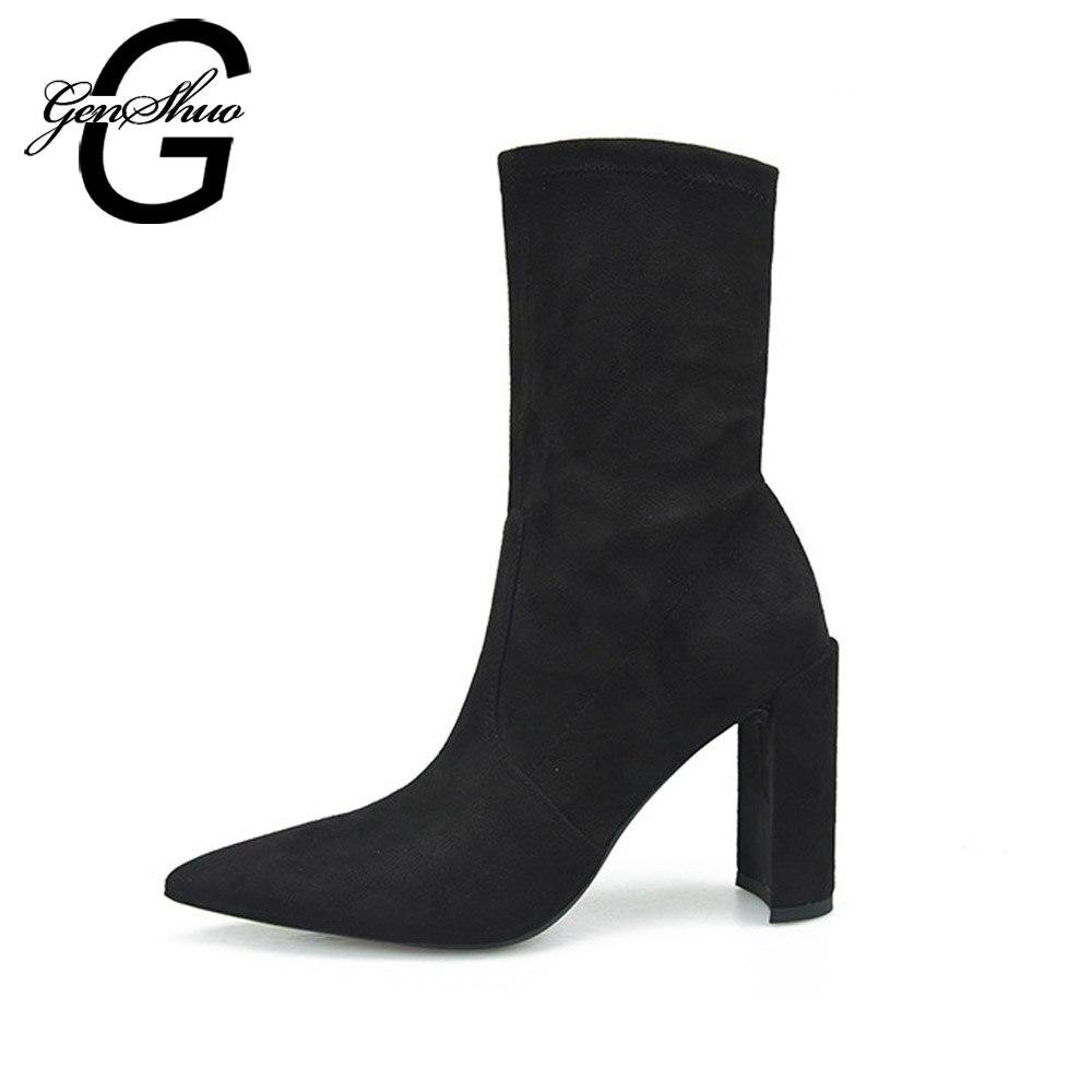 GENSHUO mujeres invierno botas puntiaguda Toe Sexy tobillo botas tacones  altos 9 cm moda Tacón cuadrado mujeres botas calientes negro tamaño 4 9 c216598c3193