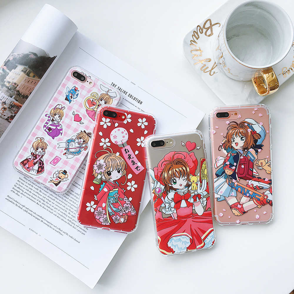 Противоударный Капа fundas Magic Gril прозрачная карта Captor Sakura Star мягкий tpu телефон чехол для iPhone 7 8X6 S Plus Япония чехол для телефона