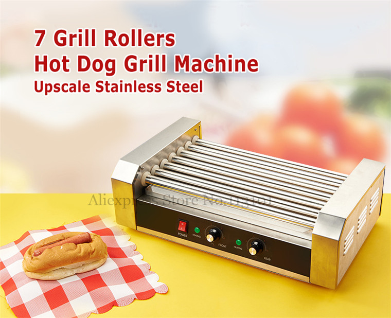 Electric Hot dog Grill Commercial Hotdog Maker Warmer Cooker Grilling Machine without Hood Cover 7 roller