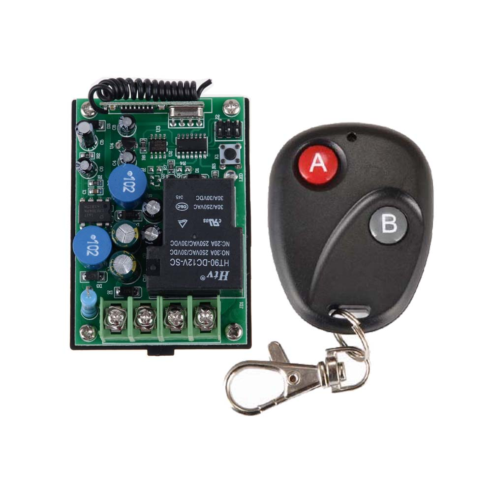 AC 220V 30A RF Wireless Remote Control Delay Time Signal Switch Multi-function Receiver With 2-Button AB Remote Transmitter