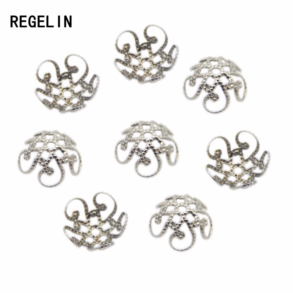 REGELIN Stainless Steel Silver Tone Flower End Caps Metal Filigree Charm Spacer Beads For DIY Jewelry Findings 50pcs/lot 8/10mm
