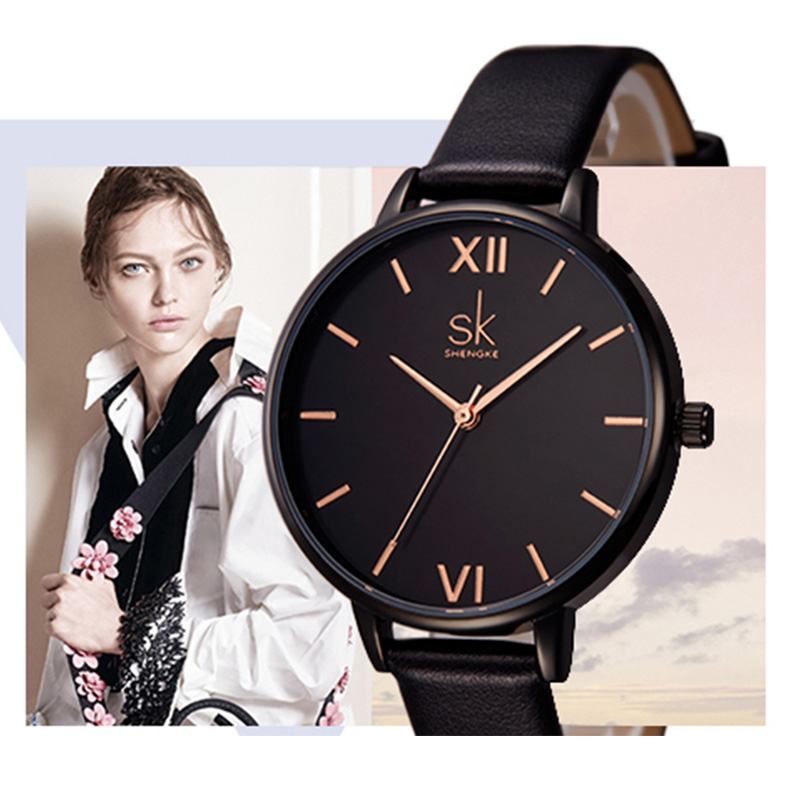 SK Top Brand Fashion Ladies Watches Leather Female Quartz Watch Women Thin Casual Strap Watch Reloj Mujer Marble Dial Clock 2018 fashion new personality black and white dial lover s quartz watch women top brand couple pu leather wristwatch reloj male clock