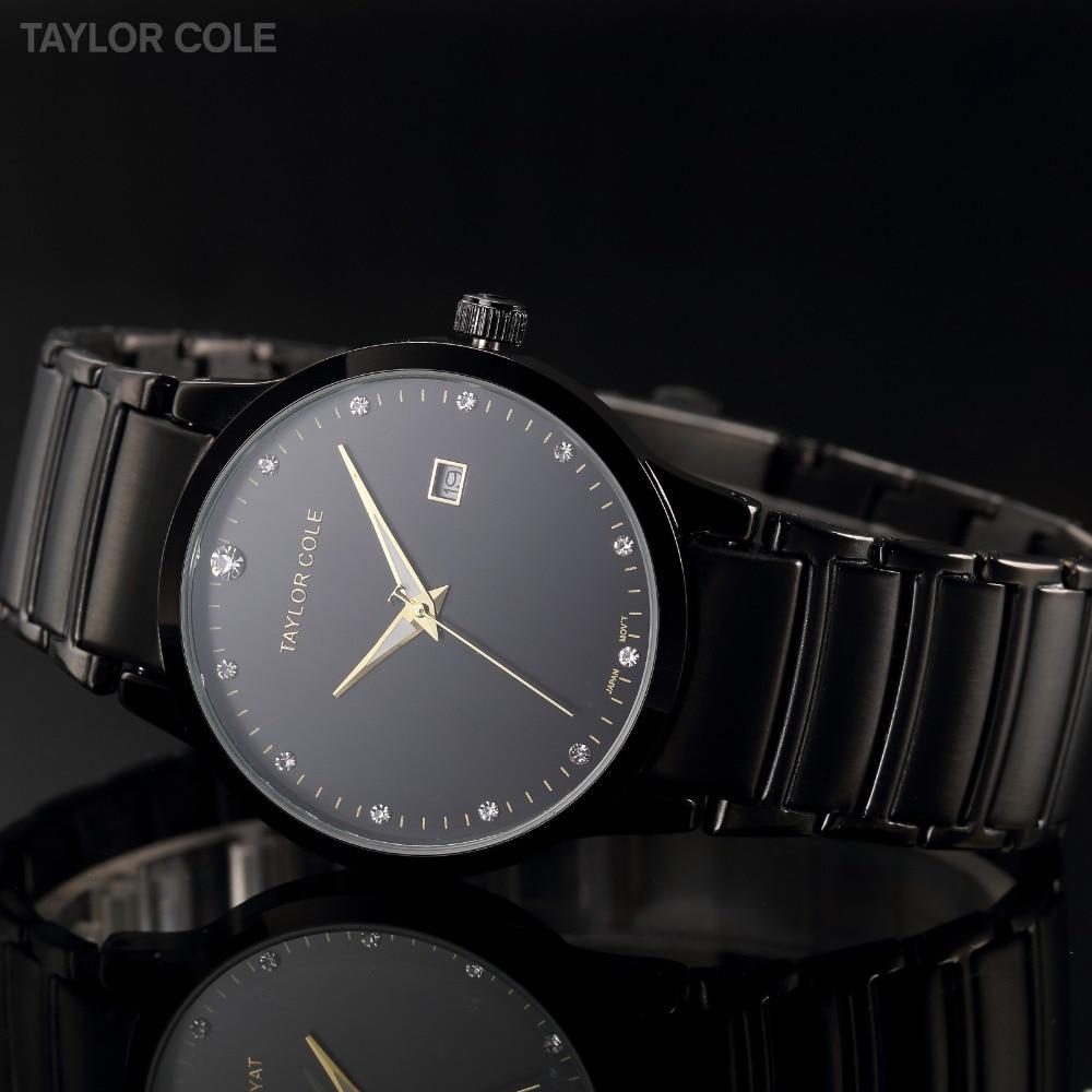 d3c4f38930e Luxo Marca Taylor Cole Preto Cinta de Aço Inoxidável Data Relogio feminino  Echo Montres Quartzo Senhora Mulheres Se Vestem Relógios TC022 em Mulheres  ...