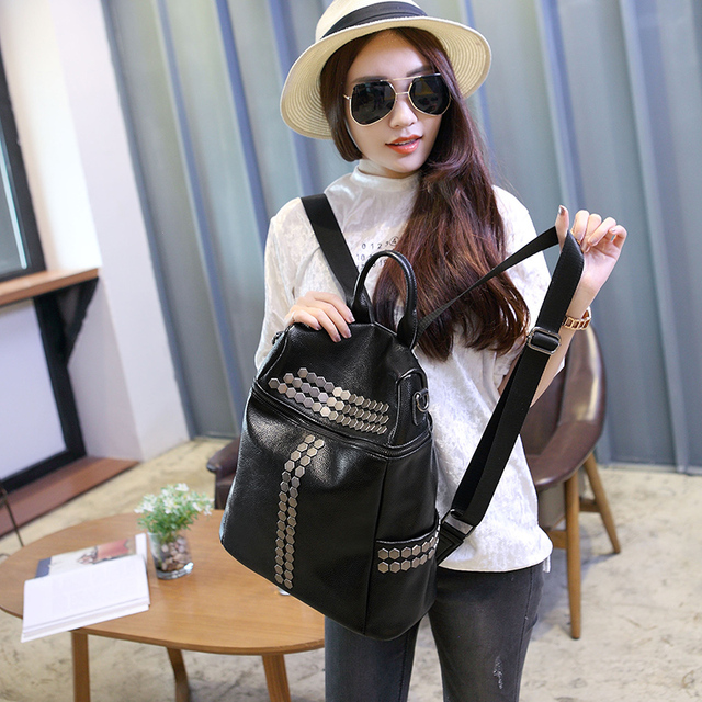 women Article on the leather backpack female office bag ladies work bags  stylish backpacks for teenage girls mochilas femininas 257ab3d55ec5e