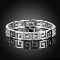 2016 New 100 Real 925 Sterling Silver Bangle 925 Silver Cubic Zirconia Fashion Jewelry Bangle For